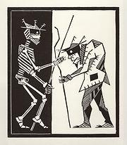 old, man, engraving, eduardo, lara, danse macabre, dance of death, artist, pritnmaking
