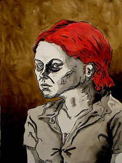 Eva Ink on paper 180 x 60 cm 2002 eduardo lara drawing
