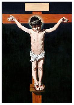 eduardo, lara, painting, doubles, twins, doppelganger, artist, art, repetition, couples, double, crucufied, kid, boy, child, cross, impersonator, imitator otto, lara
