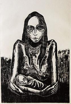 self portrait as a new born woodcut eduardo lara artist