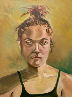 portrati of Anicka Feldekova, young girl, oil painting
