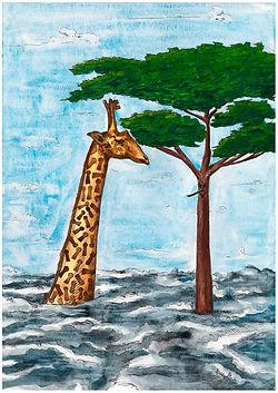TheGiraffeand The Mahogany Tree Gouache on paper 2013 eduardo lara illustration