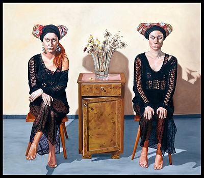 eduardo, lara, painting, doubles, twins, doppelganger, artist, art, repetition, couples, double, dead, flowers,
