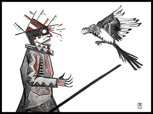 Eduardo Lara, drawing, blind man, death, charcoal, sanguine, artist, magpie