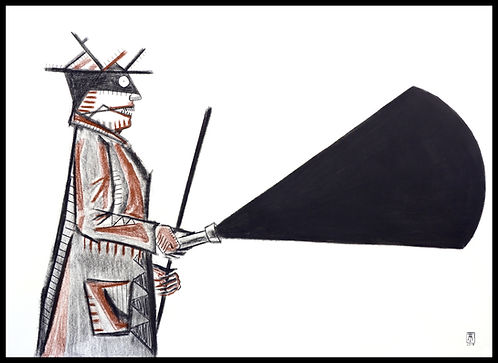 Blind man with a lamp of darknes Charcoal and sanguine on paper, eduardo lara, eduardo lara artist, eduardo laraalvarez tostado, Eduardo Lara, drawing, blind man, death, charcoal, sanguine, artist