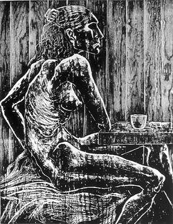 coffee drinker woodcut eduardo lara artist