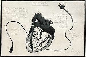 usb heart, etching, linocut
