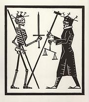 engraving, eduardo, lara, danse macabre, dance of death, artist, pritnmaking, grabado, juez, judge, justice, corruption