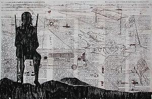 Contemplation II Litography, etching and woodcut 39 x 59 cm 2001 eduardo lara artist