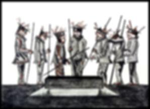 Eduardo Lara, drawing, blind man, death, charcoal, sanguine, artist, burial