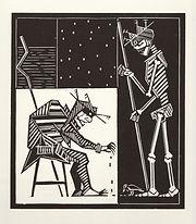 engraving, eduardo, lara, danse macabre, dance of death, artist, pritnmaking, grabado, old, woman
