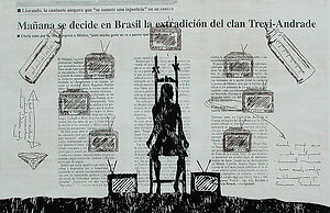 From Contemplation to Indifference, gloria trevi, sergio andrade, carcel, jail woodcut etching lithography