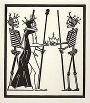 engraving, eduardo, lara, danse macabre, dance of death, artist, pritnmaking, grabado, megalomano, megalomaniac, king, emperor, trump