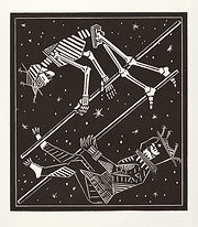engraving, eduardo, lara, danse macabre, dance of death, artist, pritnmaking, stars, astronaut,