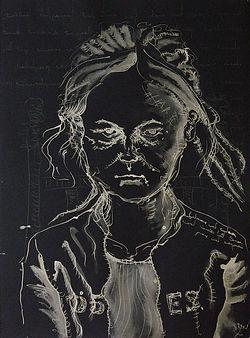 Evelin II Chlorine on black paper 180 x 60 cm 2002 eduardo lara drawing