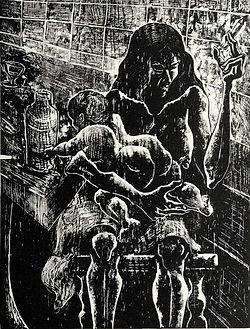 madonna with child, woodcut eduardo lara alvarez artist