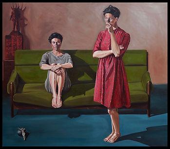 eduardo, lara, painting, doubles, twins, doppelganger, artist, art, repetition, couples, double, thinking, women, sofa