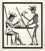 engraving, eduardo, lara, danse macabre, dance of death, artist, pritnmaking, grabado, chemistry, science, chemist, experiment