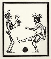 engraving, eduardo, lara, danse macabre, dance of death, artist, pritnmaking, grabado, football, soccer, player, ball, messi, maradona, ronaldo,