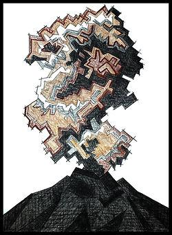 Popocatepetl, eduardo lara artist, eduardo ara, eduardo lara alvrez tostado, Eduardo Lara, drawing, blind man, death, charcoal, sanguine, artist
