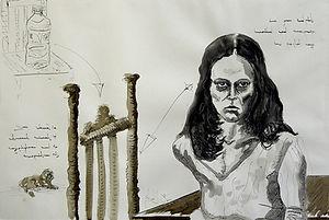 Ruth Ink on paper 76 x 112 cm 2002 eduardo lara drawing
