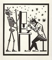 engraving, eduardo, lara, danse macabre, dance of death, artist, pritnmaking, science, scientist, covid, microscope, grabado