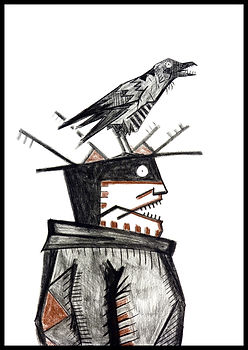 Blind man with a crow on his head, drawin, eduardolara, artist, Eduardo Lara, drawing, blind man, death, charcoal, sanguine, artist