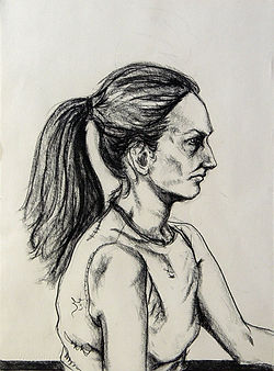 Yadira Charcoal on paper 76 x 112 cm 2002 eduardo lara drawing