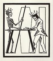 engraving, eduardo, lara, danse macabre, dance of death, artist, pritnmaking, carpenter, carpintero, grabado