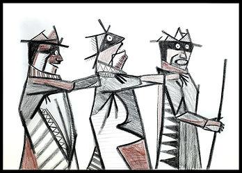 Eduardo Lara, drawing, blind man, death, charcoal, sanguine, artist, thee bind men