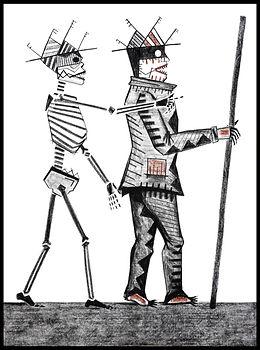 Eduardo Lara, drawing, blind man, death, charcoal, sanguine, artist