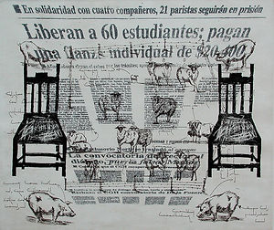 From Contemplation to Indifference, huelga unam, strike unam, lithography, woodcut, etching