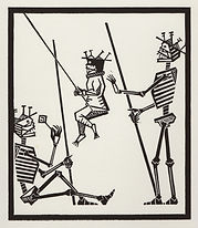 engraving, eduardo, lara, danse macabre, dance of death, artist, pritnmaking, grabado, child, niño, infant, swing