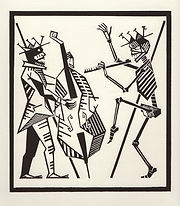 engraving, eduardo, lara, danse macabre, dance of death, artist, pritnmaking, grabado, musician, music, contrabass, contrabajo, flute, flauta, transversa, contrabassist, bassist