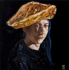portrair of jana hruskova, girl with cat alike hat