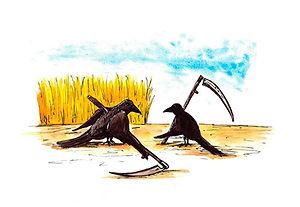Peasant Ravens Gouache on paper 2013 eduardo lara illustration