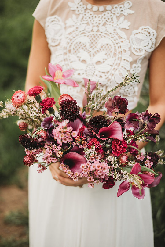 Layers of Luxe Weddings Magazine, Spring Inspired Bouquets, Red Flowers