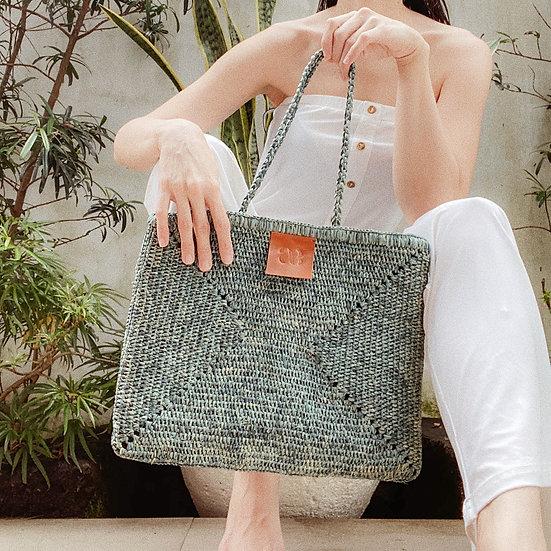 Ocean Blue Raffia Bag