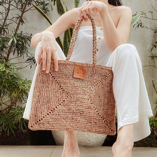 Brown Raffia Bag
