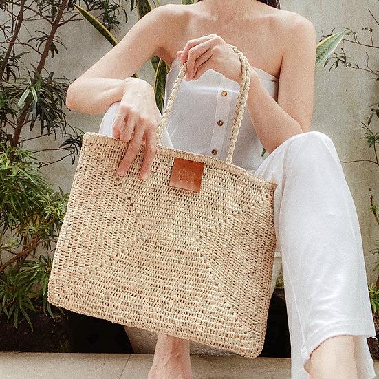 Cream Raffia Bag