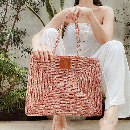 Pink Raffia Bag