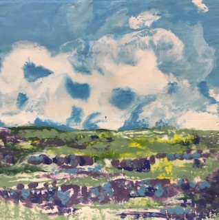 Flax fields under a Blue Sky 10x10sm cop