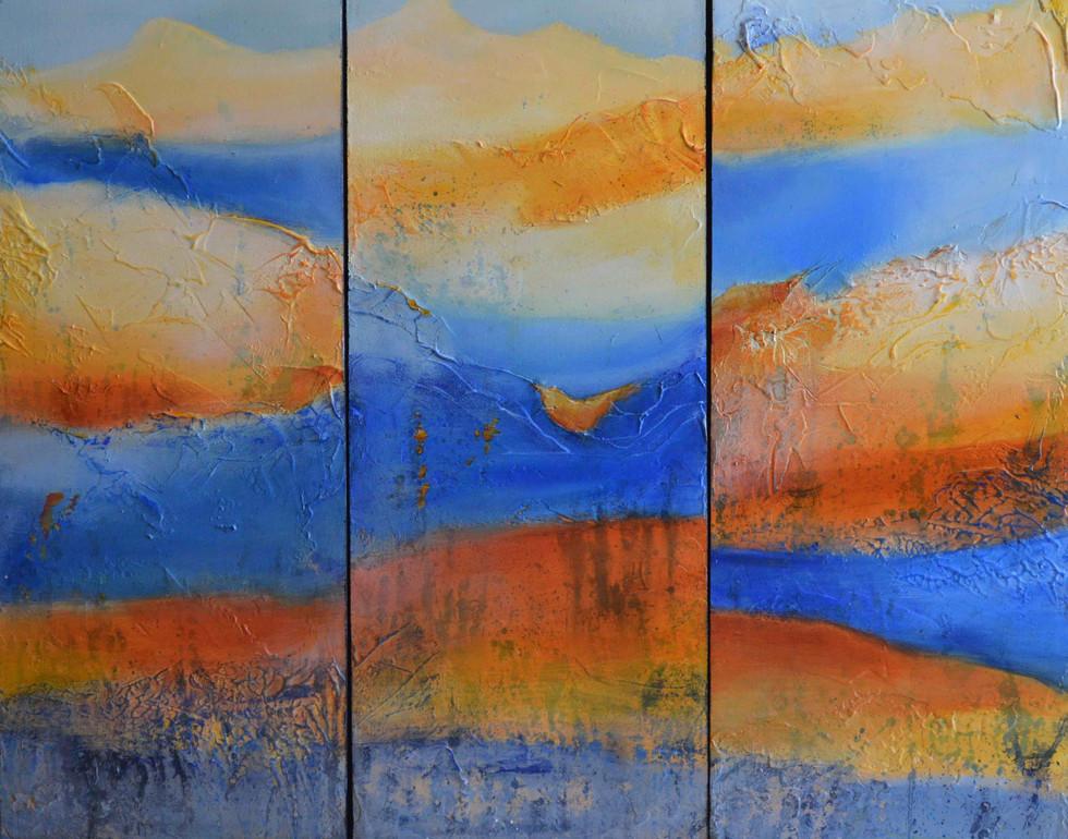 """Eternal Sun Triptych 24"""" x 30"""""""