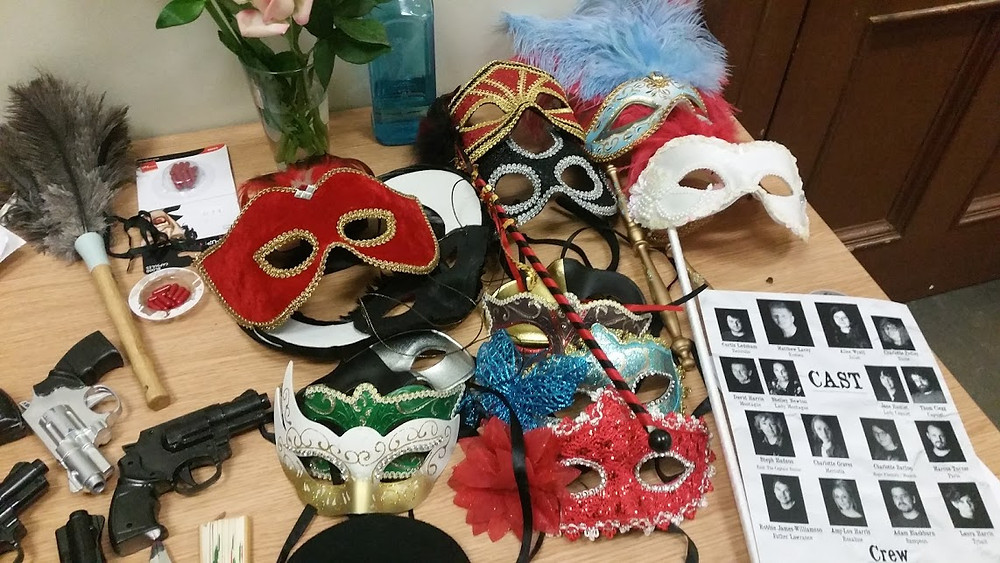 Romeo and Juliet masks and props