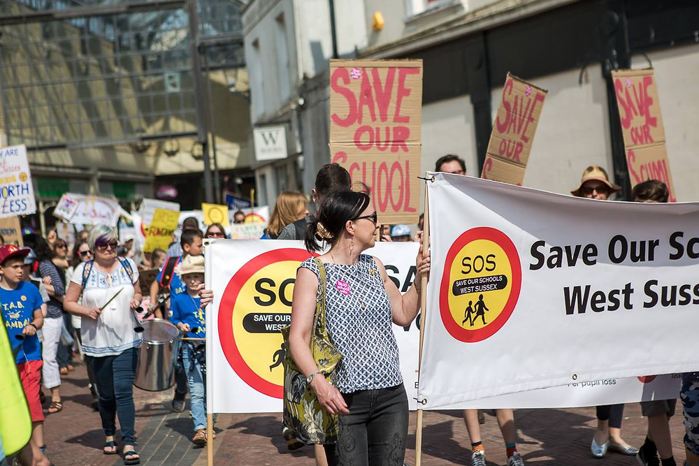 Save Our Schools march through central Worthing