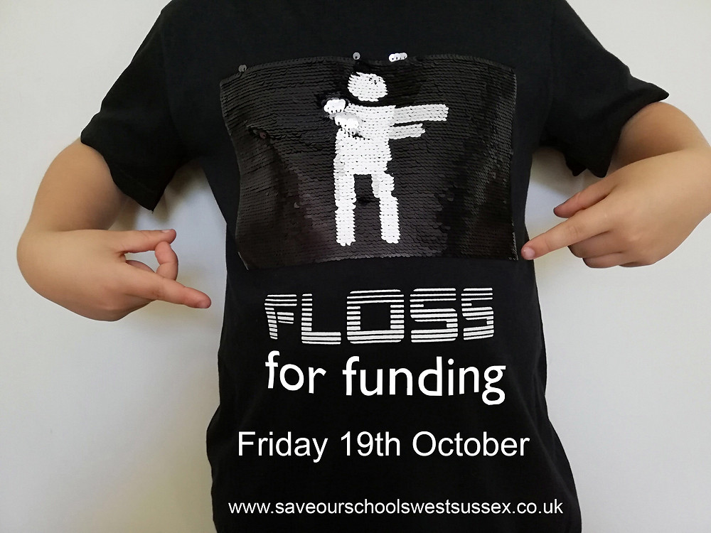 Black t-shirt with Floss for funding on it and a character flossing