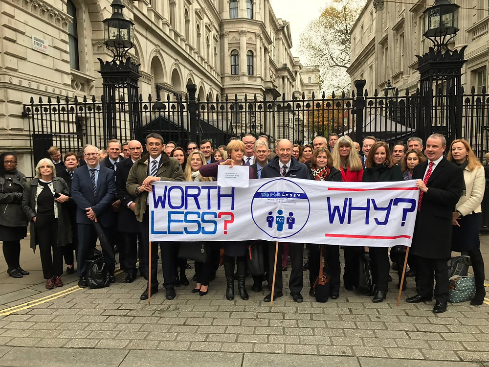 WorthLess campaigners on Downing Street