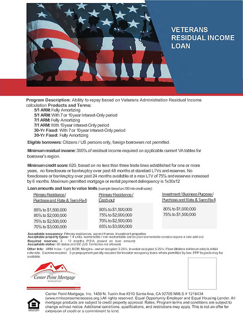 Veterans Residual Income