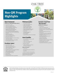 Non-QM Program Highlites