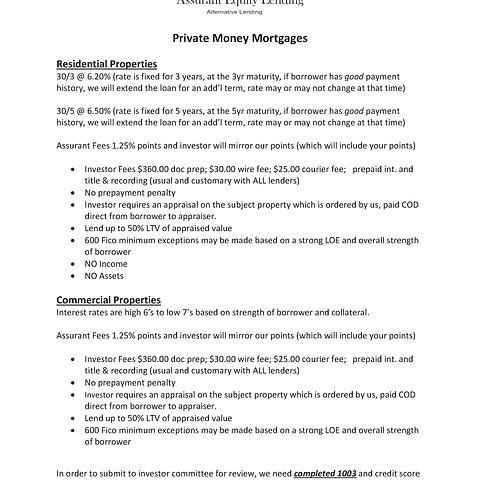Private Money Mortgage